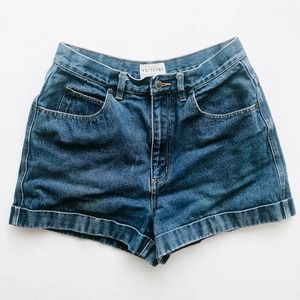 Vintage High Waisted Cuffed Denim Shorts